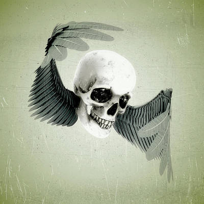 Surrealism Digital Art Rights Managed Images - Wings of Death Royalty-Free Image by Simon Brough