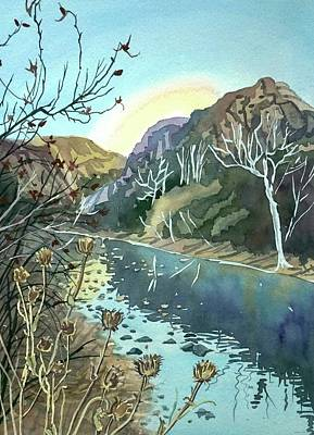 Colored Pencils - Winter Afternoon Malibu Canyon by Luisa Millicent