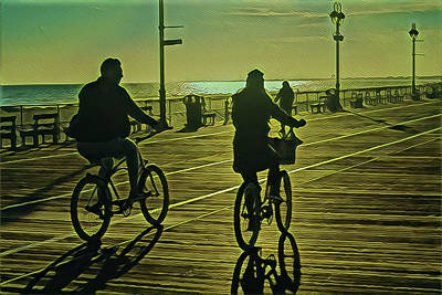 Surrealism Royalty-Free and Rights-Managed Images - Winter Bike Riding on the Boardwalk by Surreal Jersey Shore