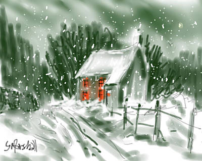 Painting - Winter Cottage Sketch by Glenn Marshall