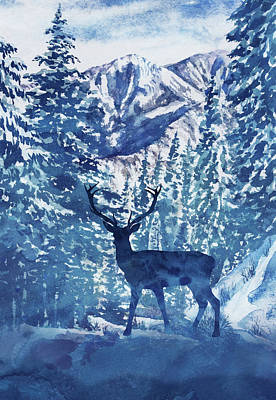 Royalty-Free and Rights-Managed Images - Winter Deer Buck Watercolor Pine Trees Forest Landscape  by Irina Sztukowski