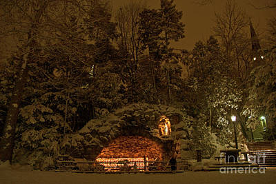 Design Pics - Winter Night Prayer At Notre Dame Grotto by John Stephens