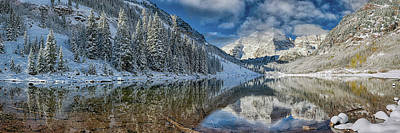Farm House Style - Maroon Bells Colorado in Winter Panorama  by OLena Art - Lena Owens