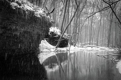 Photograph - Winter Storm Carver Roehl County Park Bw by Carl Simmerman