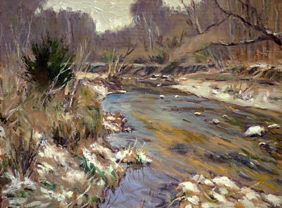 Wild Horse Paintings - Winter Stream by Daniel Fishback