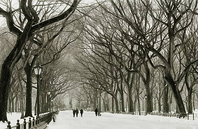 Farm Life Paintings Rob Moline - Winter Stroll in Central Park, 2000  by Michael Chiabaudo