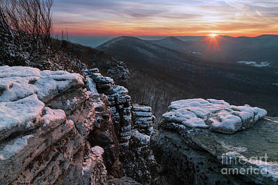Photograph - Winter sunset at George Washington National Forest by Brandon Adkins