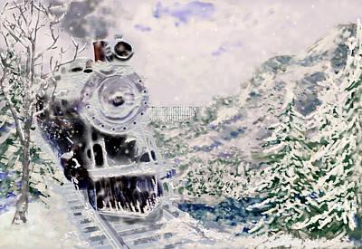 Transportation Digital Art - Winter Train by Steve Karol