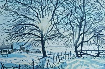 Wild Horse Paintings - Winter Trees in Snow by Luisa Millicent