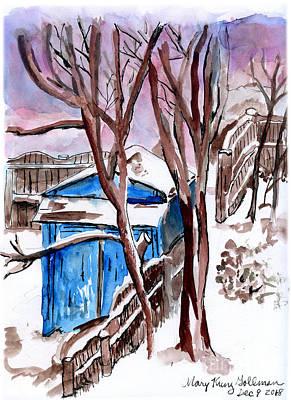 Painting - Winter Twilight in a Snowy Buffalo Back Yard by Mary Kunz Goldman