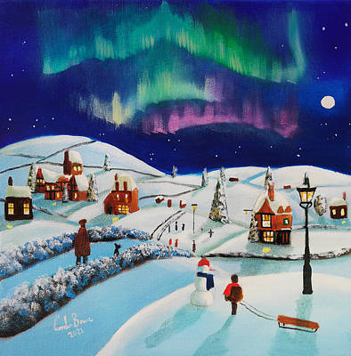 Painting - Winter village, folk art painting by Gordon Bruce