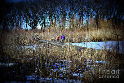 Frank J Casella Royalty-Free and Rights-Managed Images - Winter Walk Across the Bridge by Frank J Casella