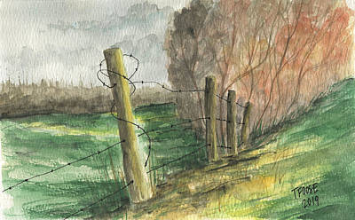 Farm Life Paintings Rob Moline Royalty Free Images - Wired Fence Royalty-Free Image by Taphath Foose