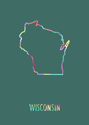Royalty-Free and Rights-Managed Images - Wisconsin Pop Art Map Green BG by Ahmad Nusyirwan