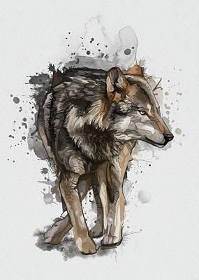 Animals Digital Art - Wolf Vintage  by Bekim M
