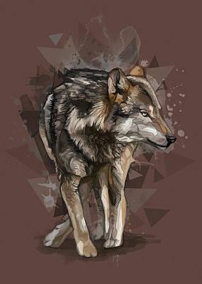 Animals Digital Art - Wolf Vintage V2 by Bekim M