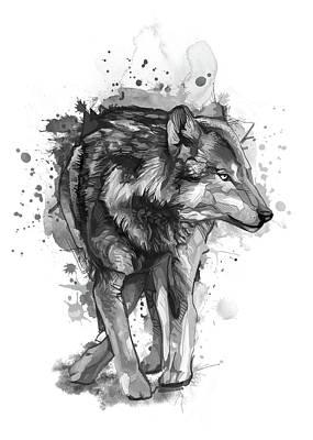 Animals Digital Art - Wolf Watercolor Bw by Bekim M