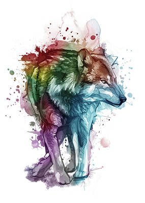 Animals Digital Art - Wolf Watercolor Colorful by Bekim M