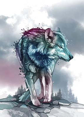 Animals Digital Art - Wolf Watercolor Purple by Bekim M