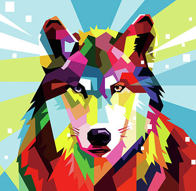 Royalty-Free and Rights-Managed Images - Wolf Wpap Pop Art by Ahmad Nusyirwan