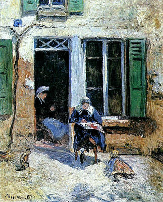 Comedian Drawings - Woman and Child Doing Needlework 1877  by Camille Pissarro 1830  1903 by Artistic Rifki