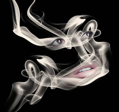 Surrealism Digital Art - Woman Eyes and Lips and Smoke Surreal by Barroa Artworks