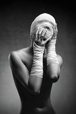 Surrealism Royalty-Free and Rights-Managed Images - Woman in bandages by Johan Swanepoel