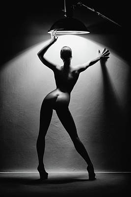 Black And White Horse Photography - Woman in the spotlight 2 by Johan Swanepoel