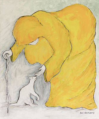 Surrealism Royalty-Free and Rights-Managed Images - Woman In Yellow And A Cat by Ben Gertsberg
