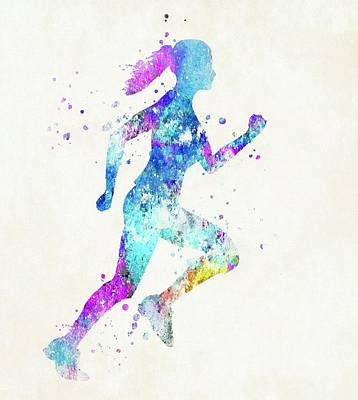 Sports Paintings - Woman Running Fast by Dan Sproul
