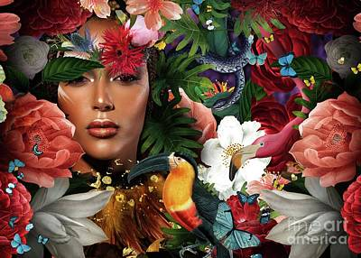 Digital Art - Woman Surrounded By Flowers Variant Two by MGL Meiklejohn Graphics Licensing