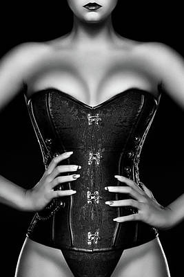 Chris Walter Rock N Roll - Woman wearing black corset by Johan Swanepoel