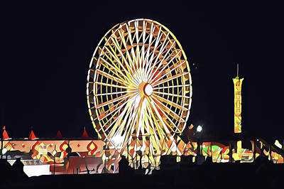 Surrealism Royalty-Free and Rights-Managed Images - Wonderland Ferris Wheel at Night by Surreal Jersey Shore
