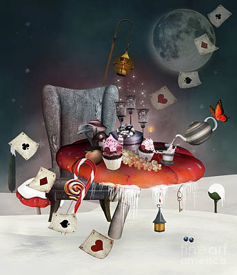 Surrealism Royalty-Free and Rights-Managed Images - Wonderland surreal Christmas by EllerslieArt