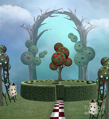 Surrealism Royalty-Free and Rights-Managed Images - Wonderland surreal garden with a maze by EllerslieArt
