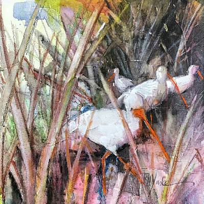 Farm Life Paintings Rob Moline Royalty Free Images - Wood Ibis Royalty-Free Image by Robert Yonke