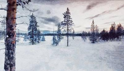 Mixed Media Royalty Free Images - Woodcut Winter Royalty-Free Image by Mario Carini