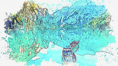 Royalty-Free and Rights-Managed Images - Wooden boat Mirror Lake, watercolor, by Ahmet Asar by Celestial Images