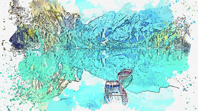 Royalty-Free and Rights-Managed Images - Wooden boat Mirror Lake_1, watercolor, by Ahmet Asar by Celestial Images