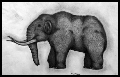 Animals Drawings - Woolly Mammoth W/ Border by Michael Panno