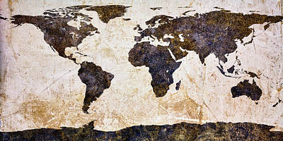 Steampunk Royalty-Free and Rights-Managed Images - World Map Abstract by Bob Orsillo