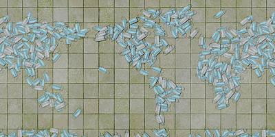 Digital Art - World Map Facemasks by Frans Blok