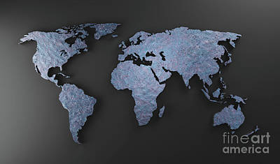 Have A Cupcake - World map made of blue rock mineral. Modern wallpaper in grunge style. by Michal Bednarek
