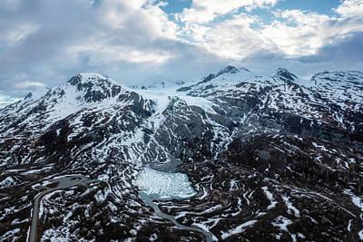 Bath Time - Worthington Glacier with a frozen Lake - Aerial Panorama by Alex Mironyuk