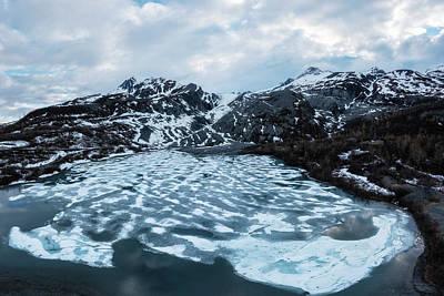 Bath Time - Worthington Glacier with a frozen Lake  by Alex Mironyuk