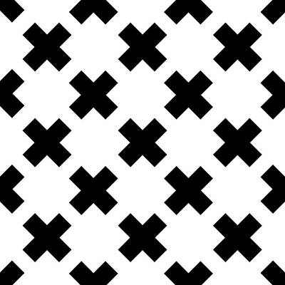 Digital Art Royalty Free Images - X Cross Pattern 01 - Saint Andrews Cross - Saltire - Black and White Royalty-Free Image by Studio Grafiikka