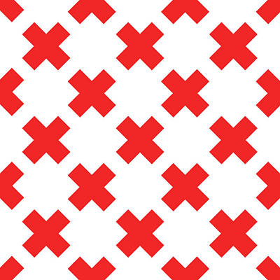 Digital Art Royalty Free Images - X Cross Pattern 02 - Saint Andrews Cross - Saltire - Red and White Royalty-Free Image by Studio Grafiikka
