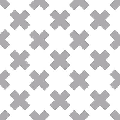 Digital Art Royalty Free Images - X Cross Pattern 03 - Saint Andrews Cross - Saltire - Gray and White Royalty-Free Image by Studio Grafiikka