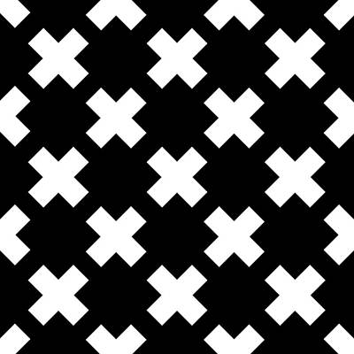 Book Quotes - X Cross Pattern 04 - Saint Andrews Cross - Saltire - Black and White by Studio Grafiikka