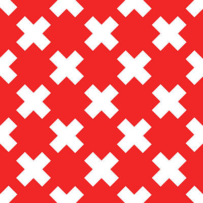 Royalty-Free and Rights-Managed Images - X Cross Pattern 05 - Saint Andrews Cross - Saltire - Red and White by Studio Grafiikka